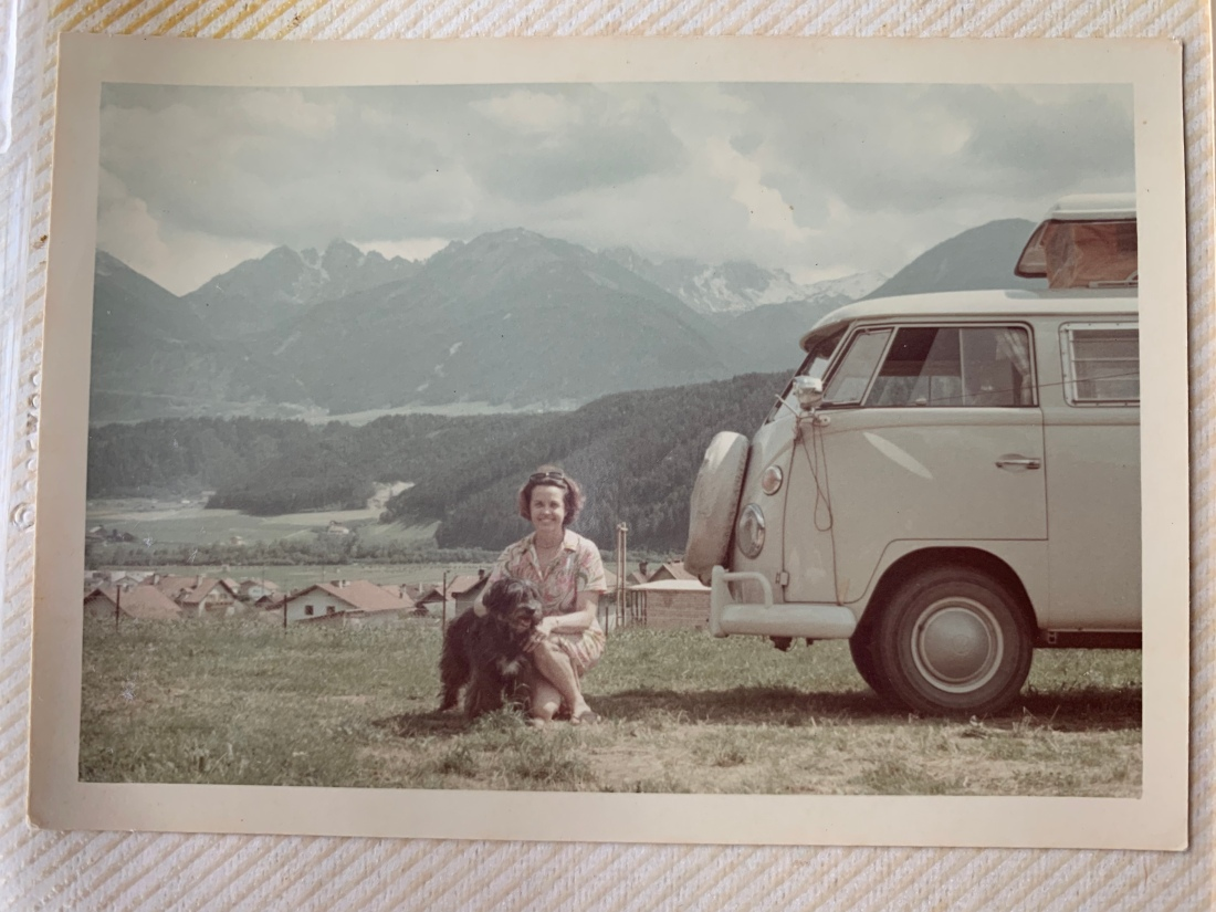 Aunt Giz with Happy the dog and Marta, a 1966 VW Camper Van
